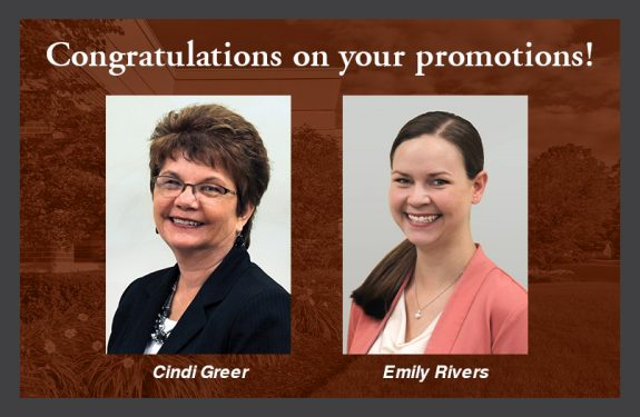 """Congratulations on your promotion!"" Staff photo of Cindi Greer on the left and Emily Rivers on the right."